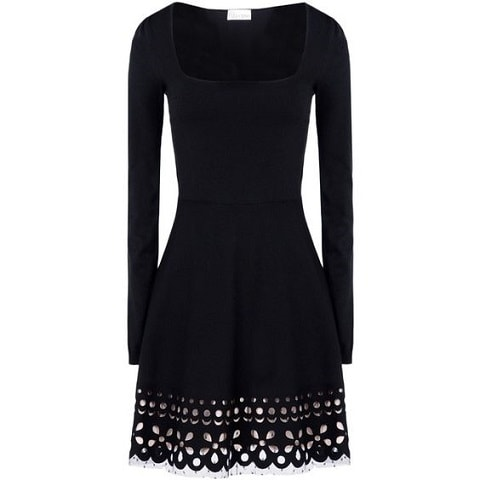 Red Valentino laser cut sangallo knit dress